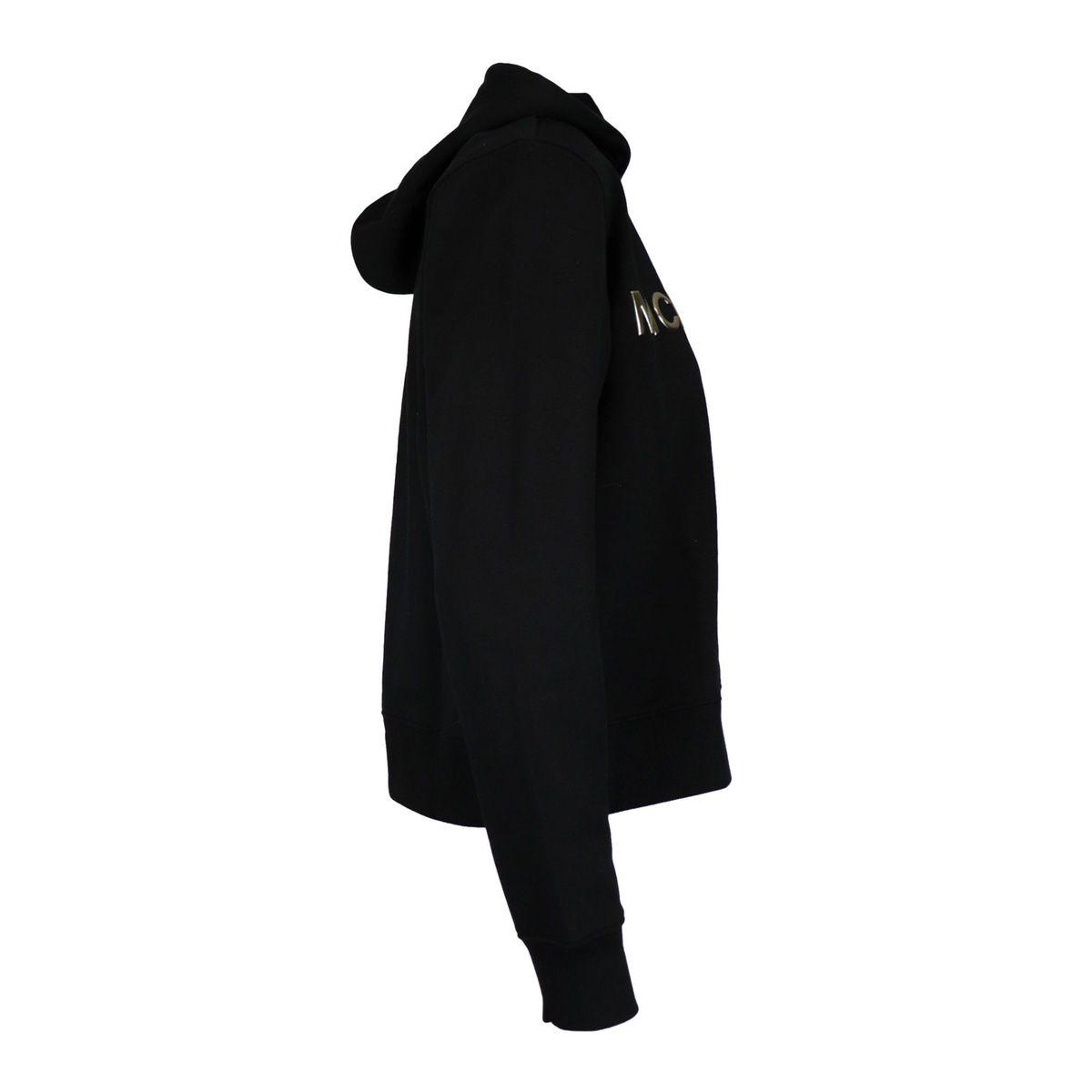 Cotton blend sweatshirt with hood and logo writing Black Michael Kors