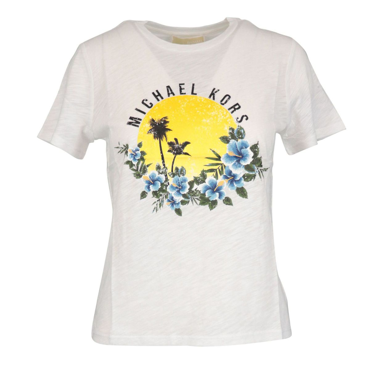 Short sleeve cotton t-shirt with sunset print White Michael Kors