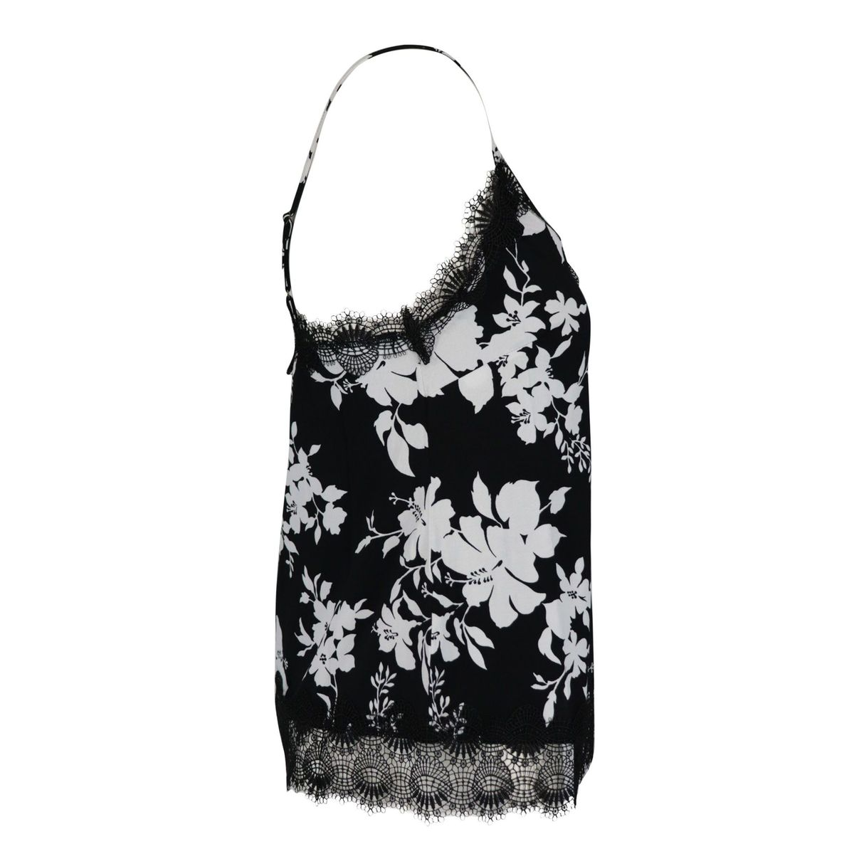 Patterned top in stretch viscose with lace profiles Black white Michael Kors