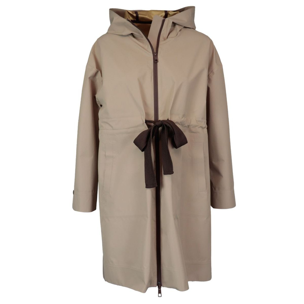 Technical fabric trench coat with contrasting drawstring Safari PESERICO