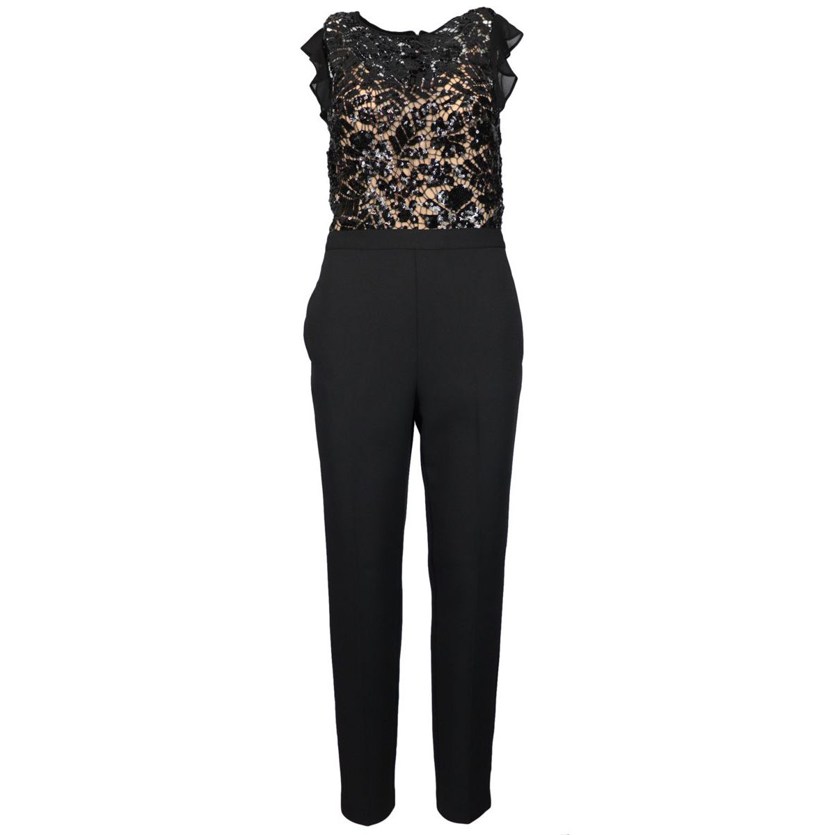 Viscose jumpsuit with lace and sequins Black Michael Kors