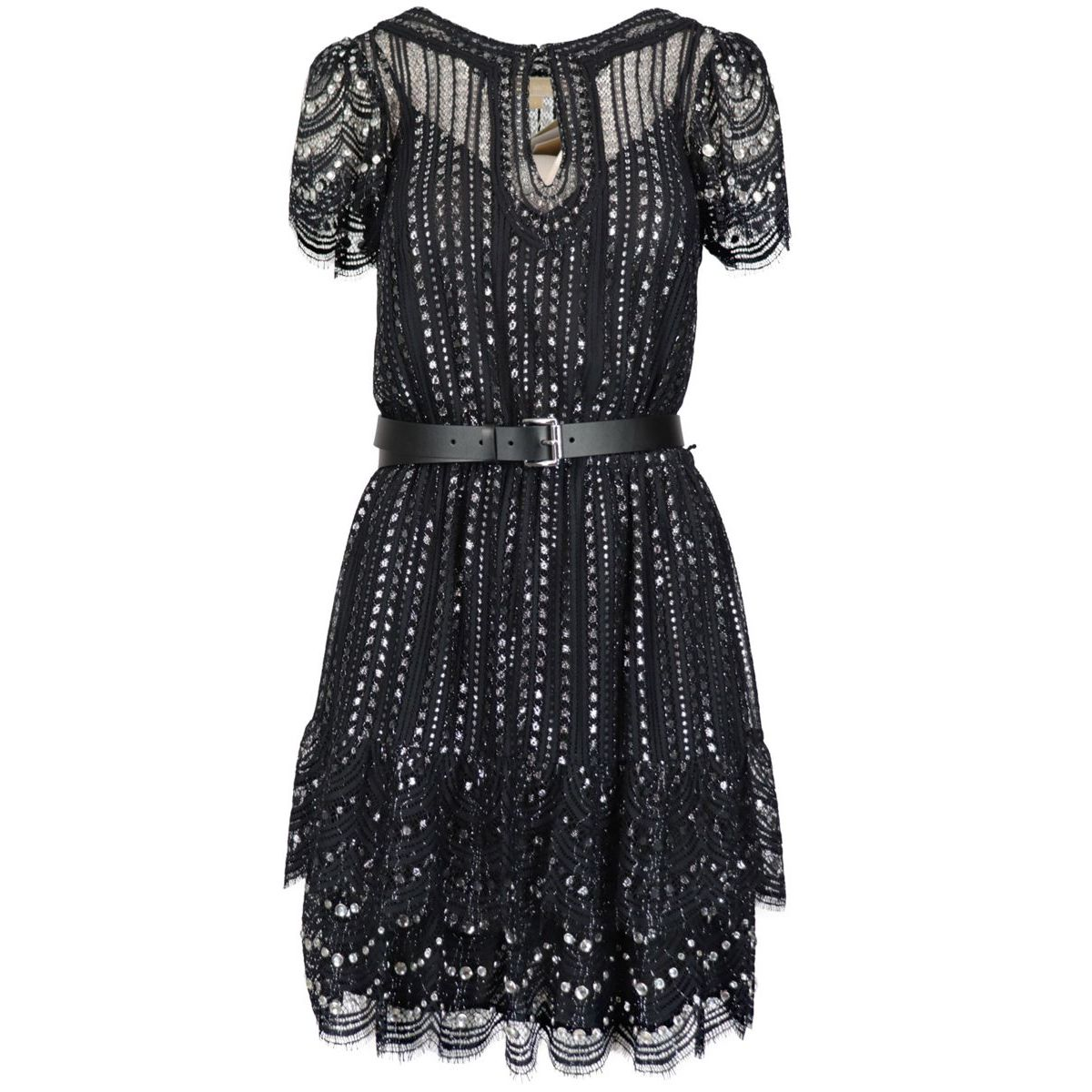 Lace dress embroidered with metallic yarns and crystals Black / silver Michael Kors