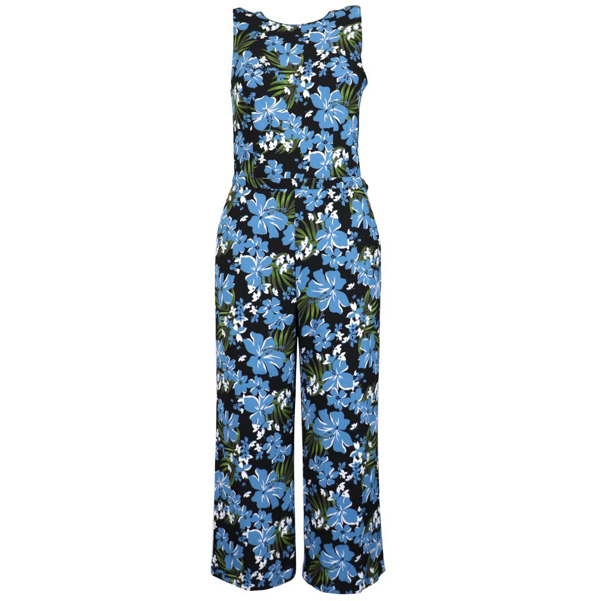 Viscose jumpsuit with flower print Black / blue Michael Kors