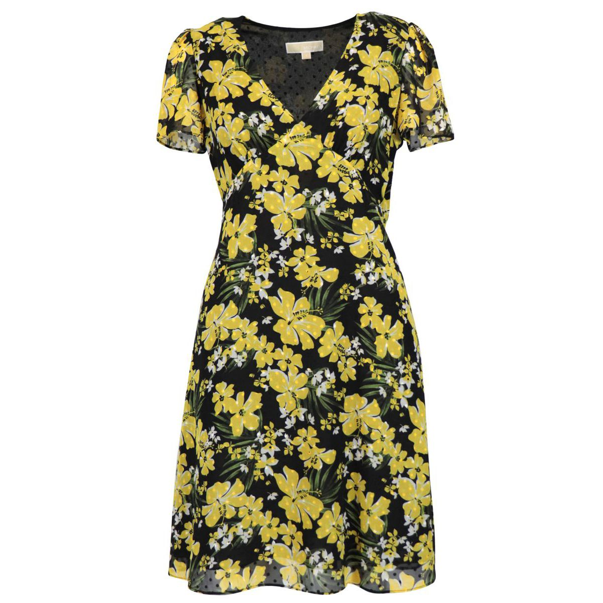 Short-sleeved viscose dress with flower print Yellow black Michael Kors