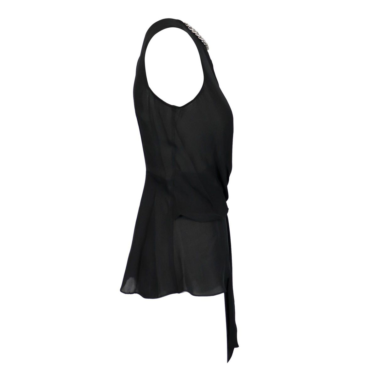 Draped silk top with chain detail on the neckline Black Michael Kors