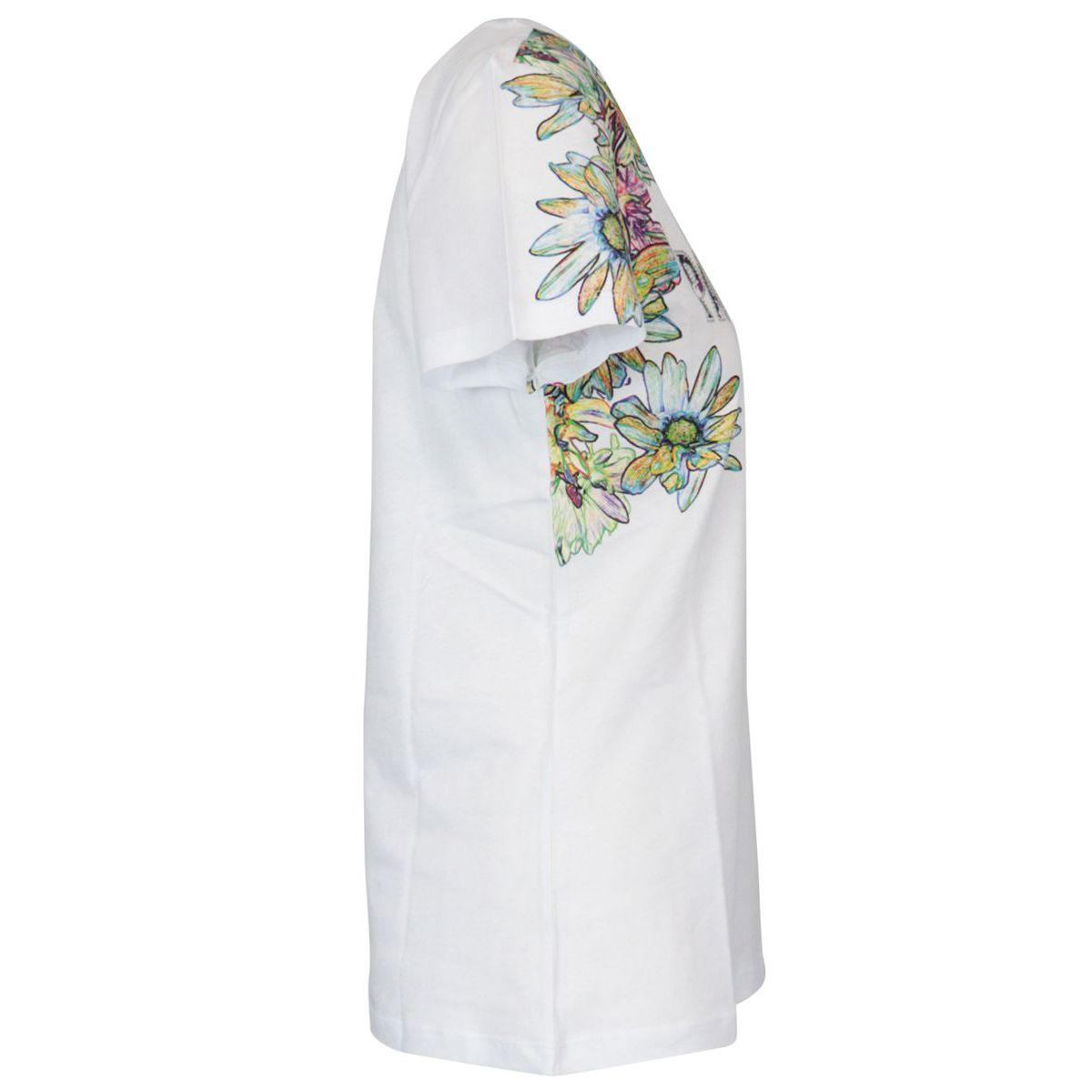 Cotton T-shirt with flower print and rhinestone logo Optical white Patrizia Pepe