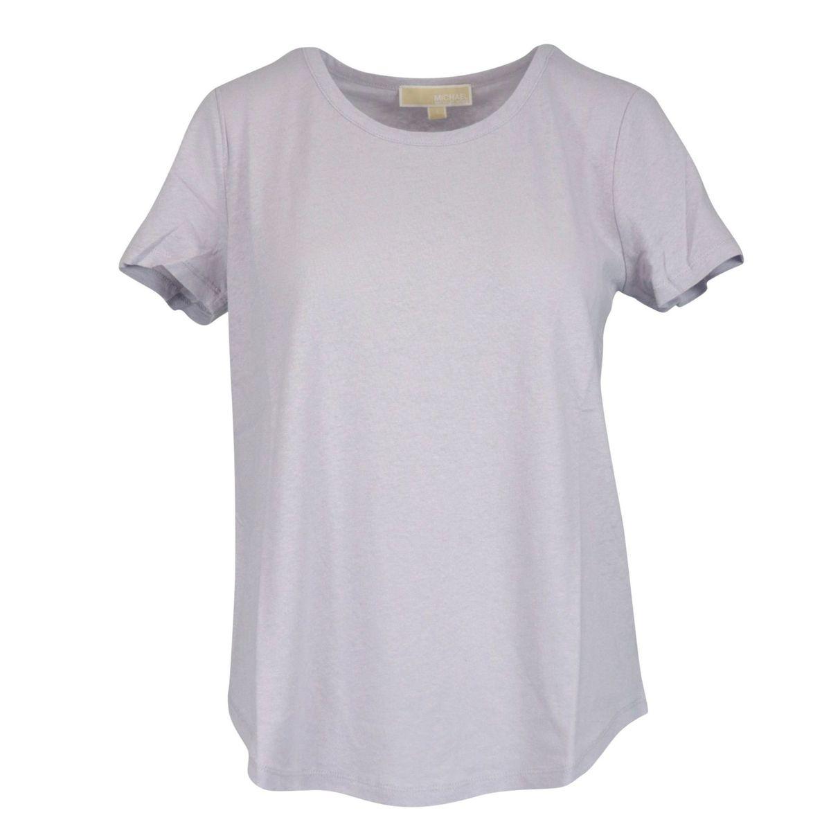 Short sleeve T-shirt in linen blend Lavender Michael Kors