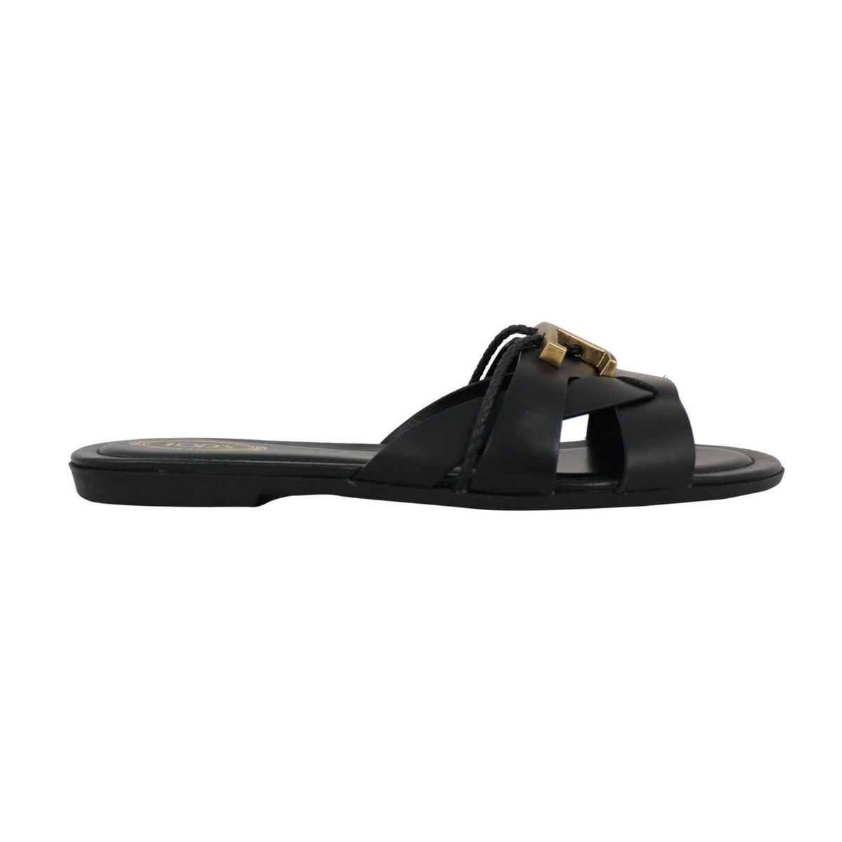 Leather band sandal with burnished metal T Black Tod's