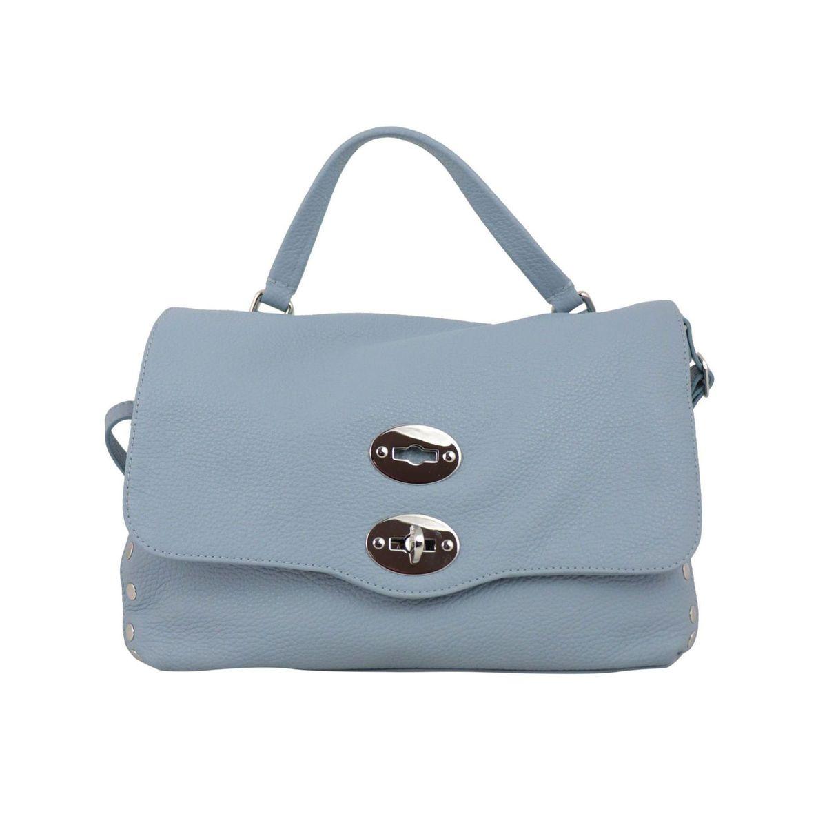 Postina S Daily bag in grained leather Light blue Zanellato