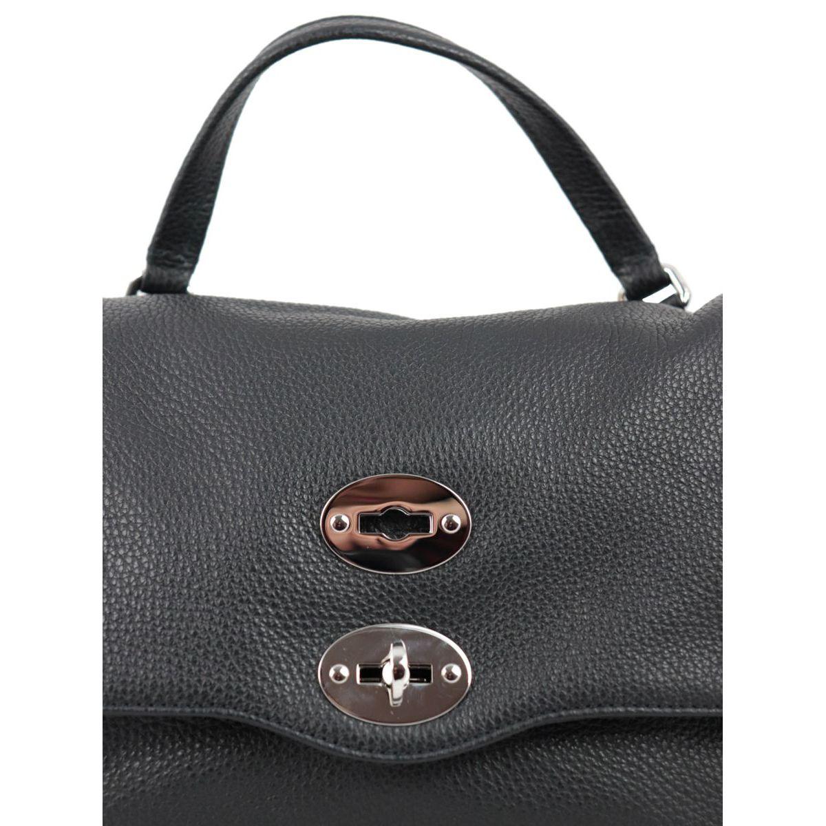 Postina S Daily bag in grained leather Black Zanellato