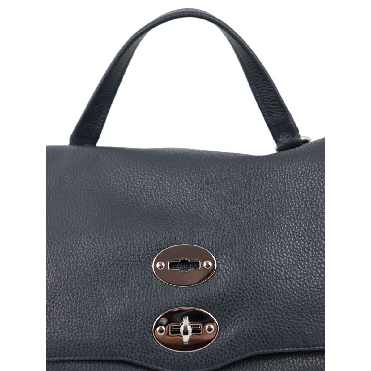 Postina M Daily bag in grained leather Navy Zanellato
