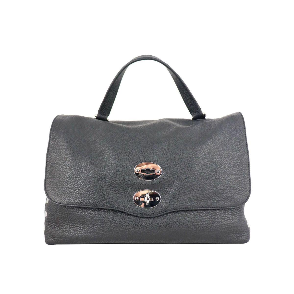Postina M Daily bag in grained leather Black Zanellato