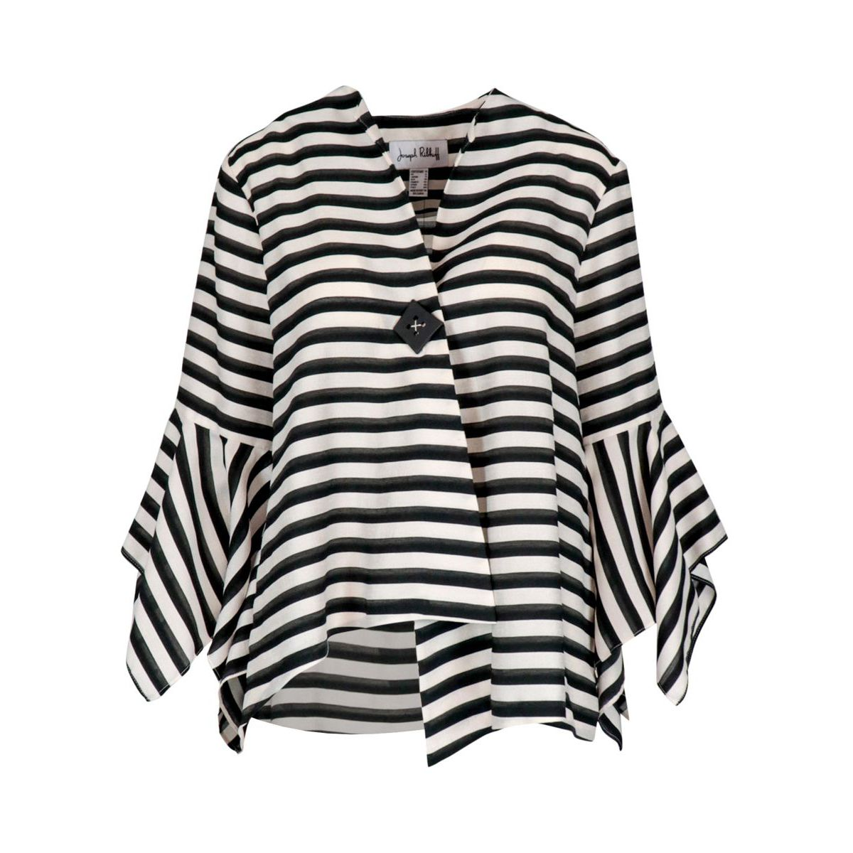Wide crepe jacket with striped pattern and button White black Joseph Ribkoff
