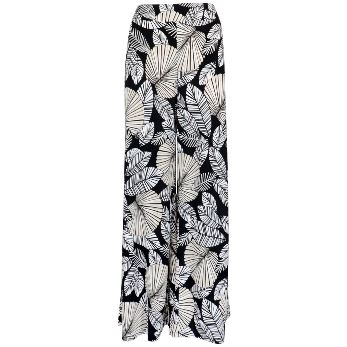 Wide viscose trousers with floral print Black / beige Joseph Ribkoff