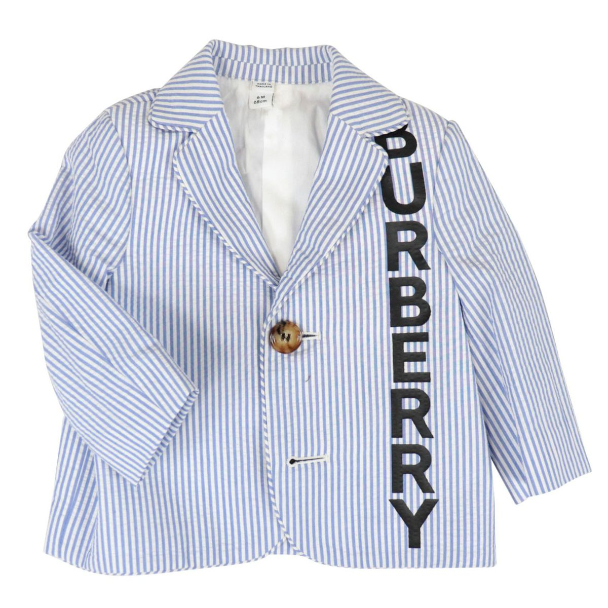 Manuel two-button cotton jacket with large logo writing White / blue Burberry