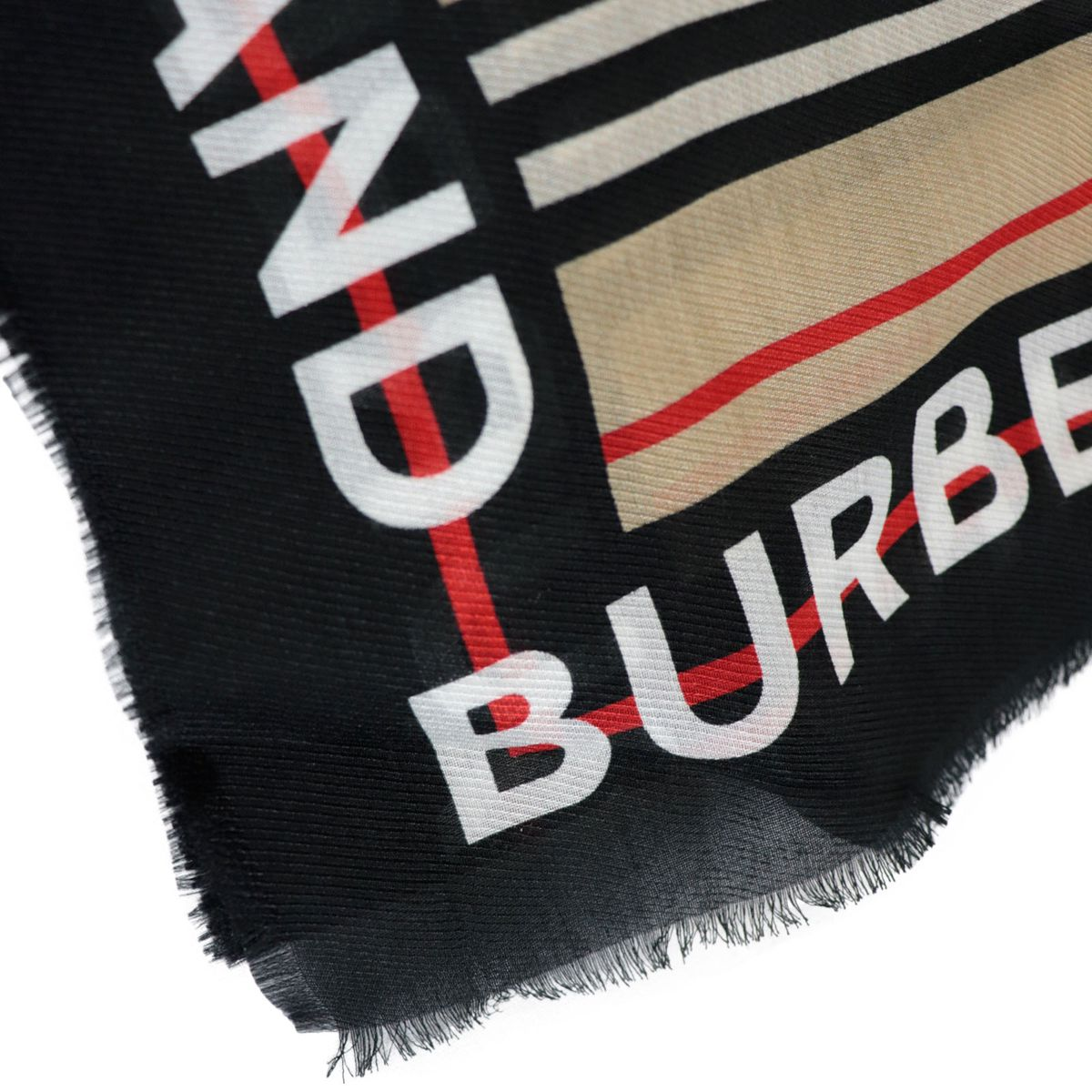 Check striped patterned silk blend scarf Check Burberry