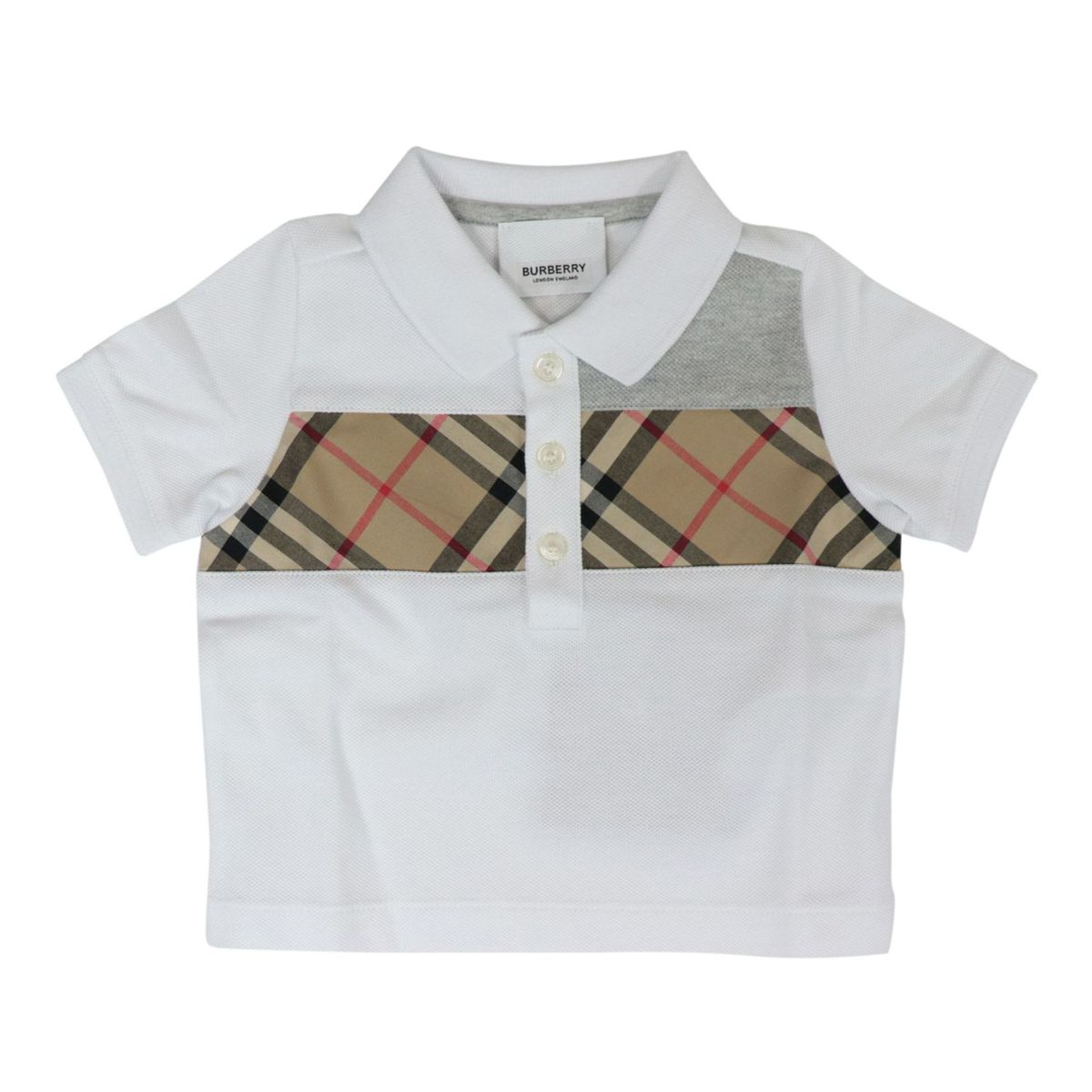 Mini-Jeff polo shirt in cotton pique with check pattern front band White Burberry