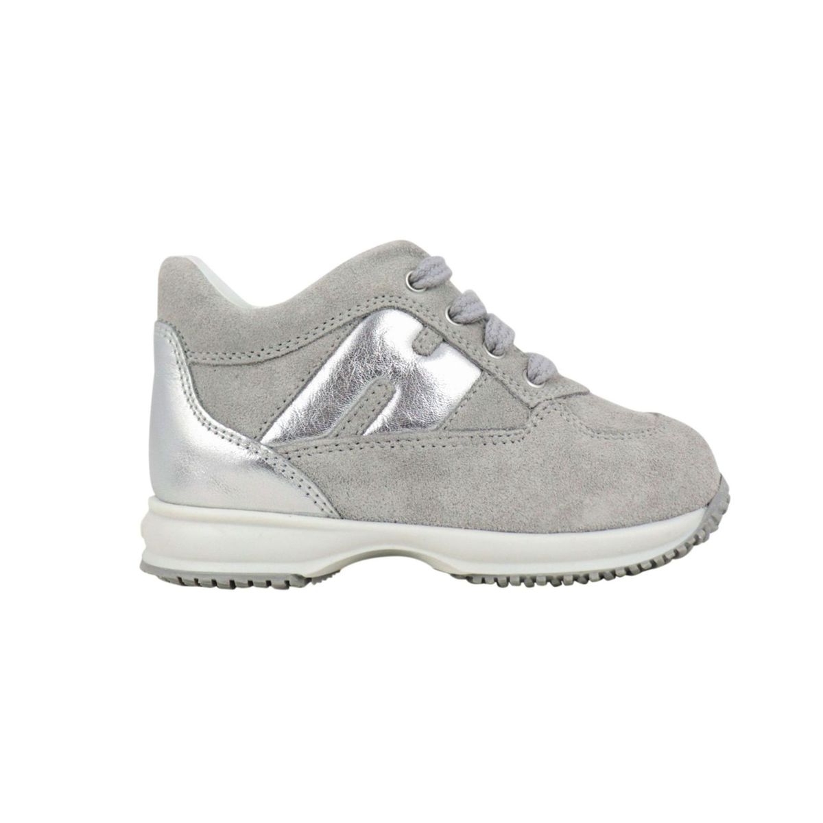 Interactive sneakers in suede and lurex effect leather Light grey Hogan