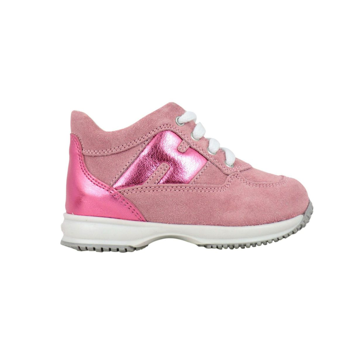 Interactive sneakers in suede and lurex effect leather Rose Hogan