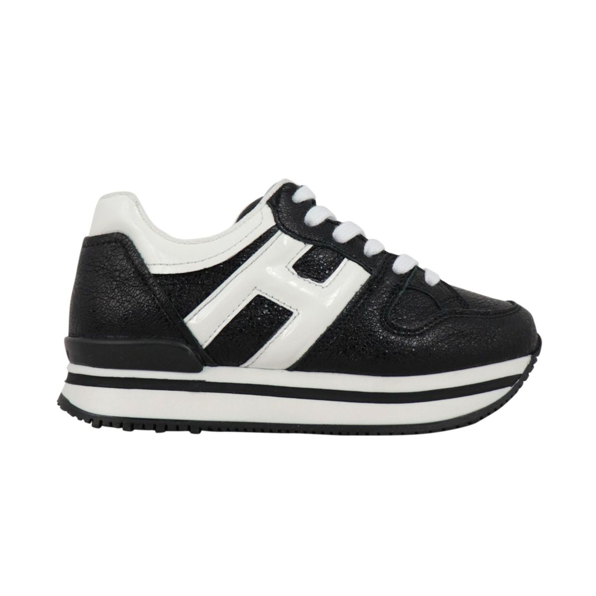 Maxi sneakers in leather with contrasting H Black white Hogan