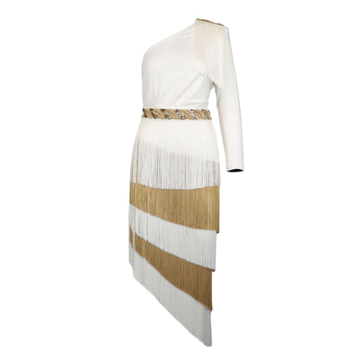 One-shoulder jersey dress with fringes Ivory / gold Elisabetta Franchi