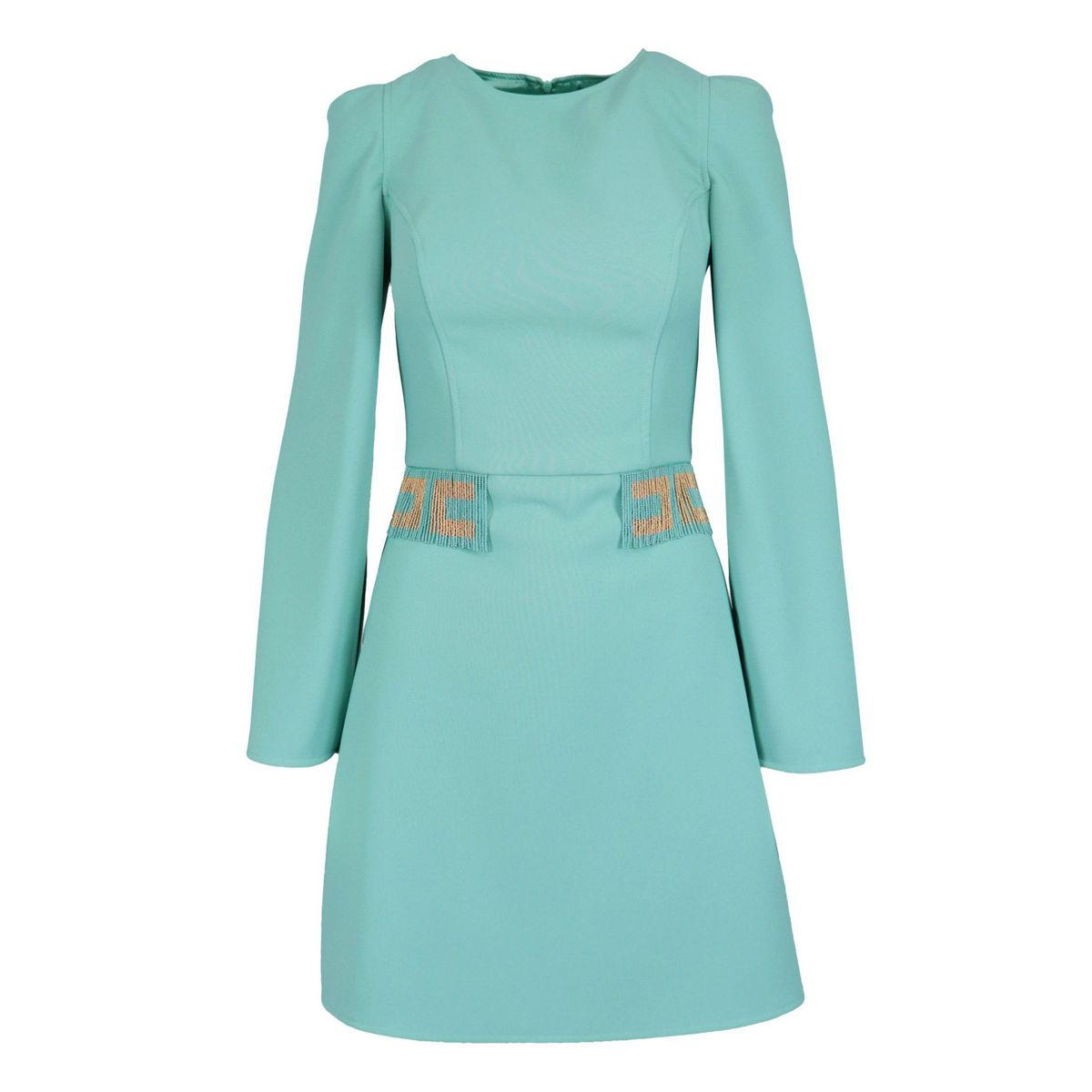 Long-sleeved crepe dress with fringed bead details Tiffany Elisabetta Franchi