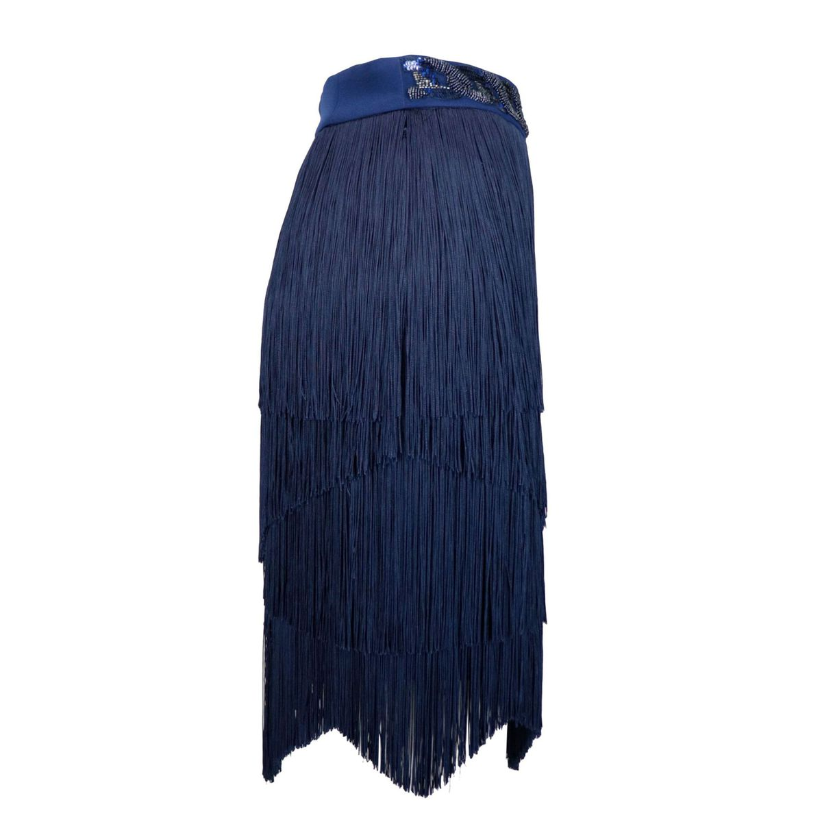 Crepe skirt with fringes Blue Elisabetta Franchi