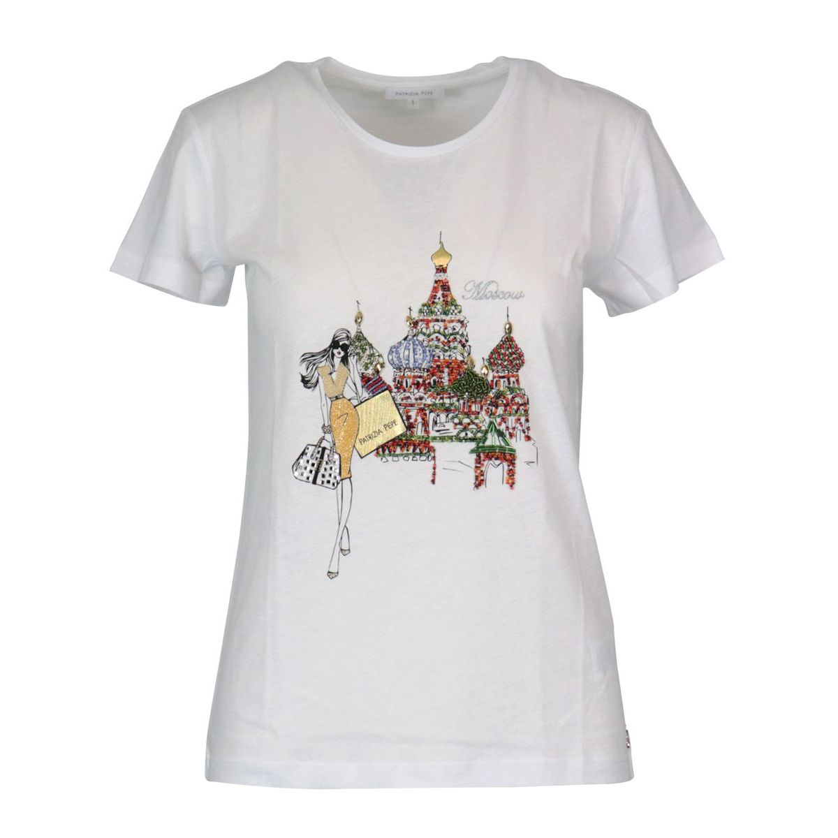 Cotton jersey T-shirt with city print White / fly Patrizia Pepe