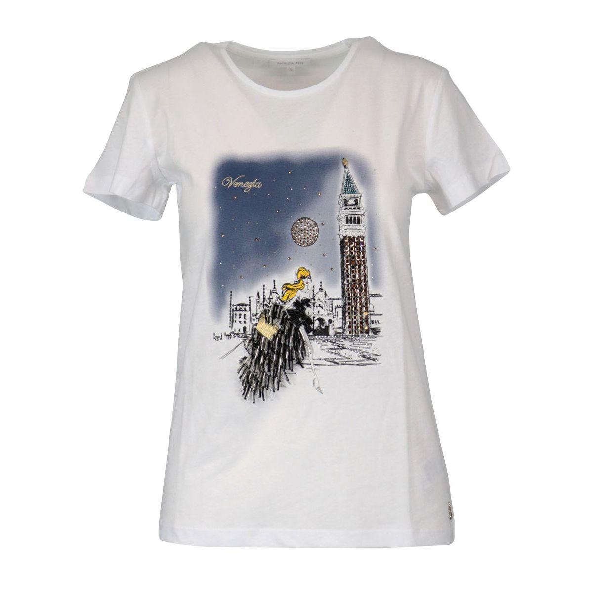 Cotton jersey T-shirt with city print White / venice Patrizia Pepe