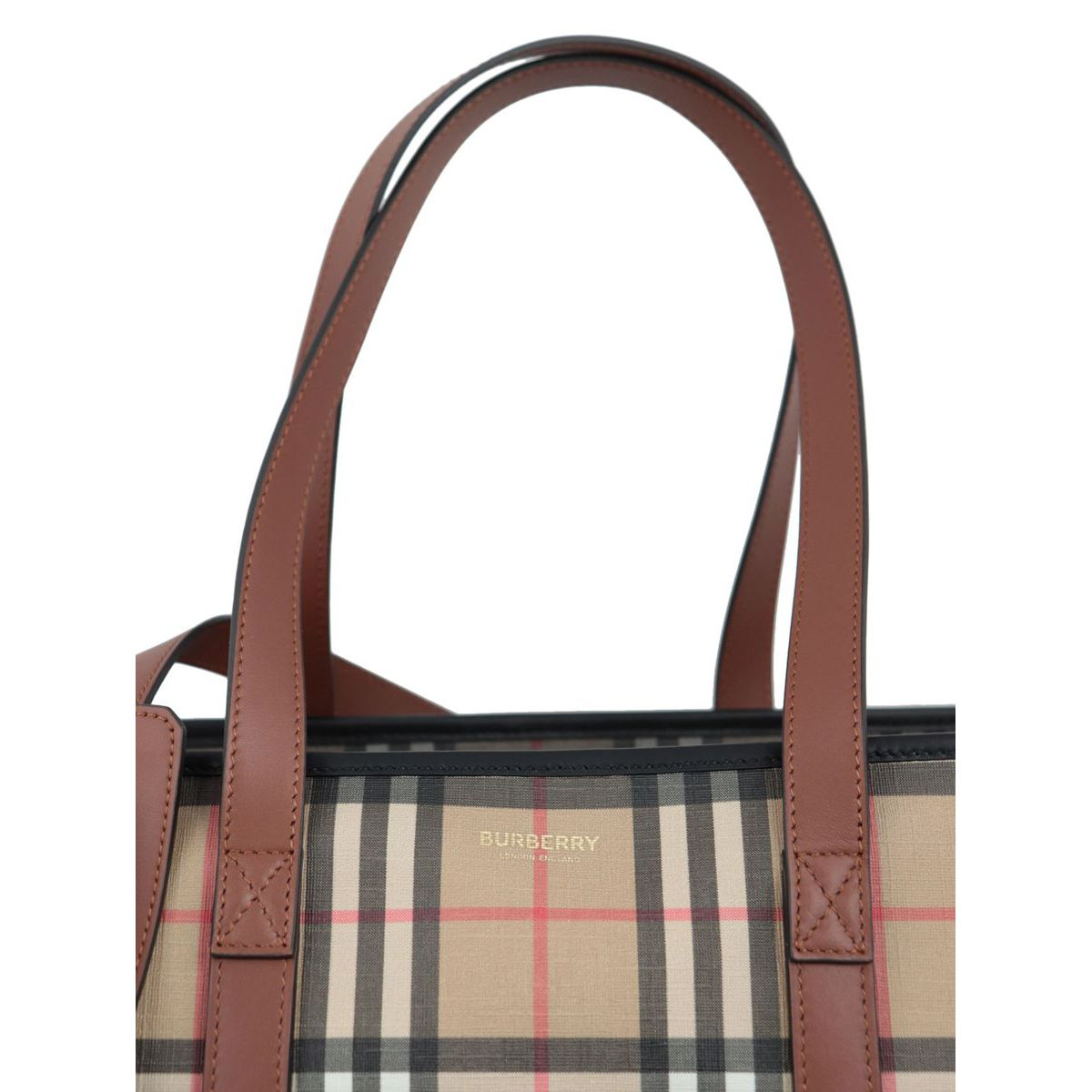Parker e-canvas bag with leather trim Beige check Burberry