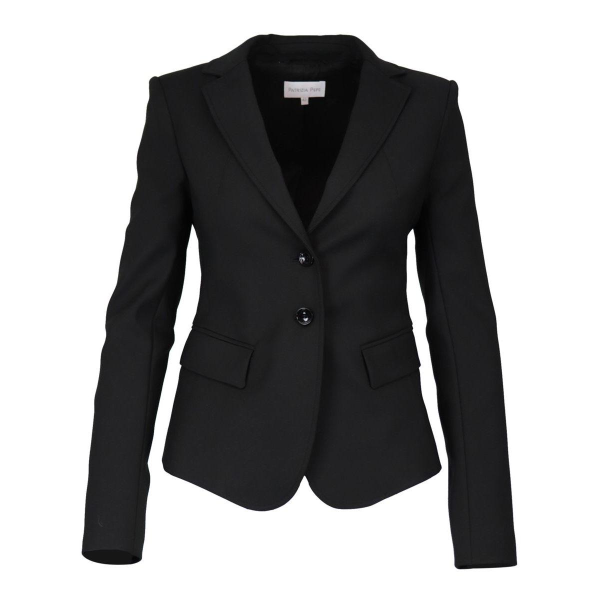Single-breasted two-button cotton blend jacket Black Patrizia Pepe