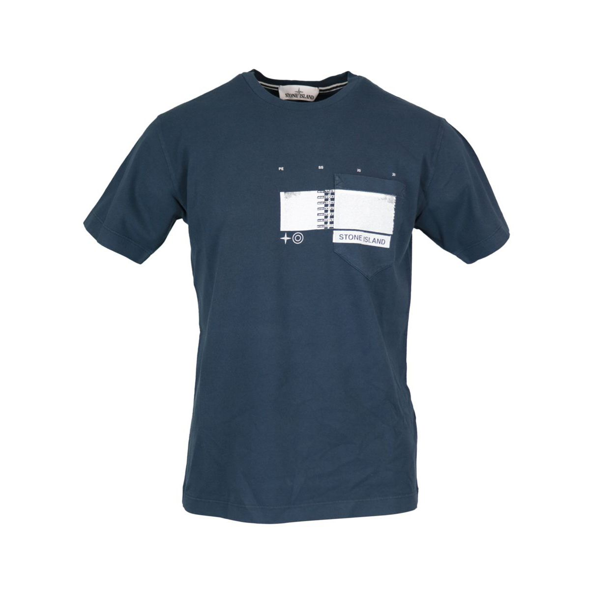 Crew neck cotton T-shirt with print on the chest Navy Stone Island