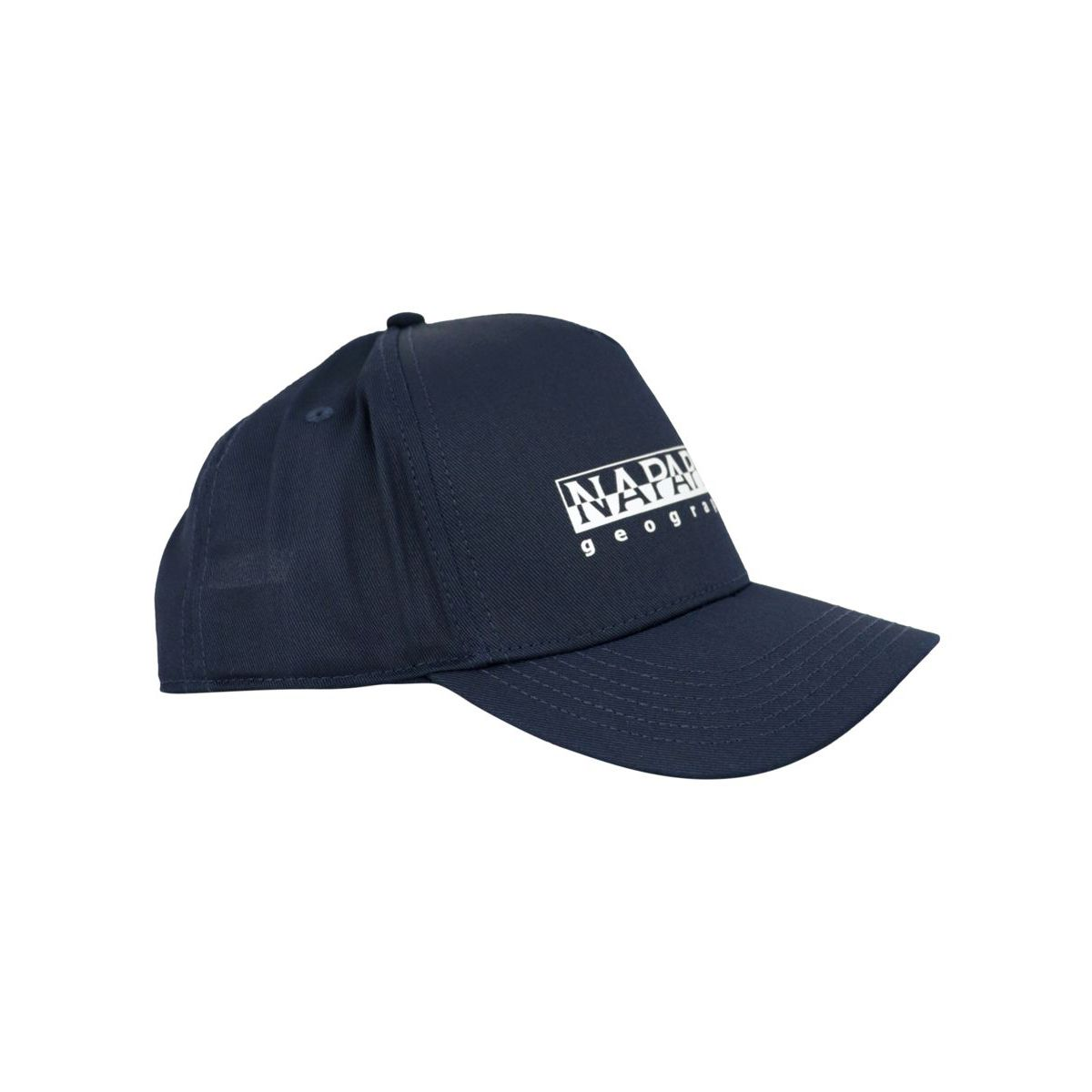 Cotton blend visor hat with printed logo Blue NAPAPIJRI