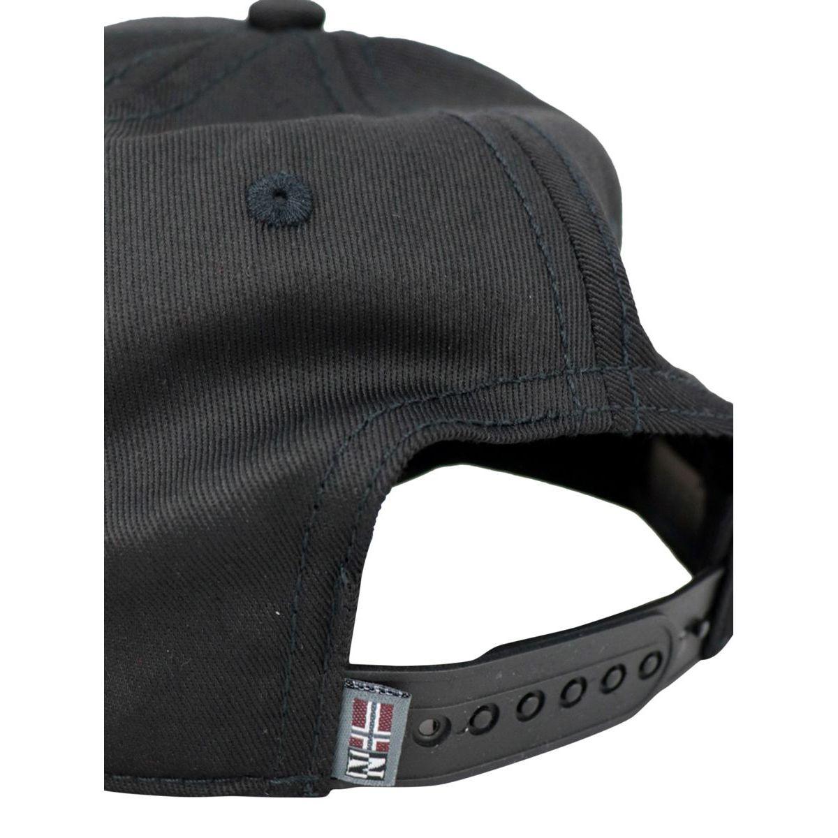 Cotton blend visor hat with printed logo Black NAPAPIJRI