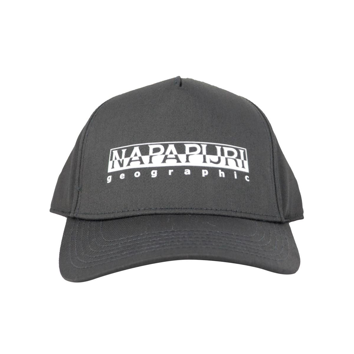 Cotton blend visor hat with printed logo Black NAPAPIJRI