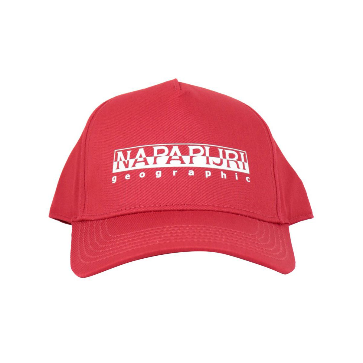 Cotton blend visor hat with printed logo Red NAPAPIJRI