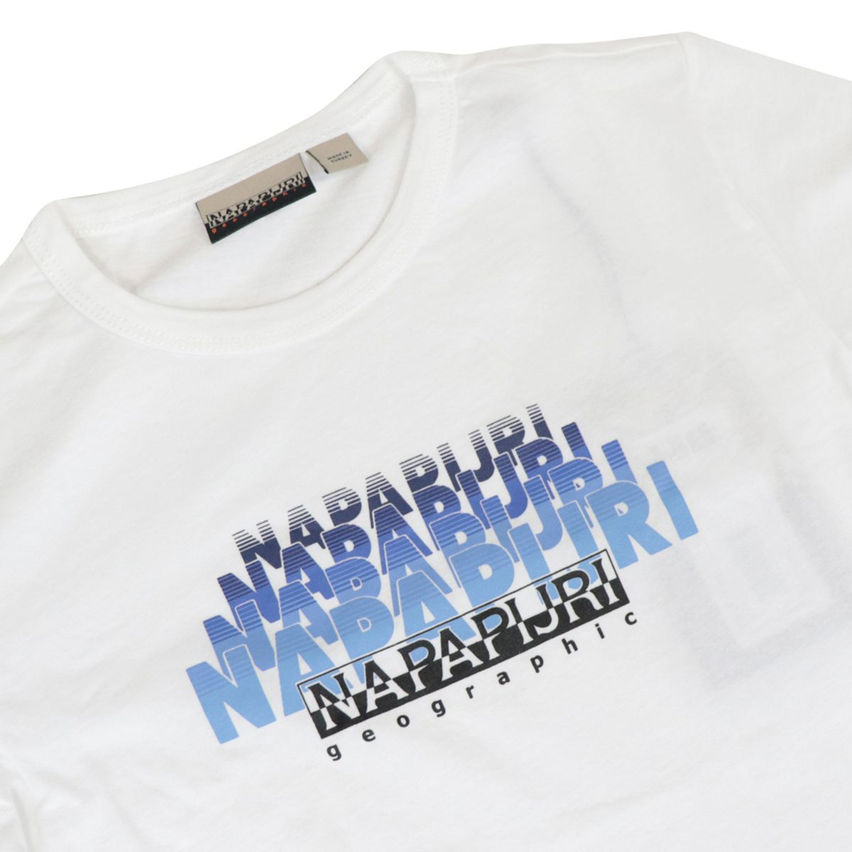 Short-sleeved cotton T-shirt with shaded logo White NAPAPIJRI