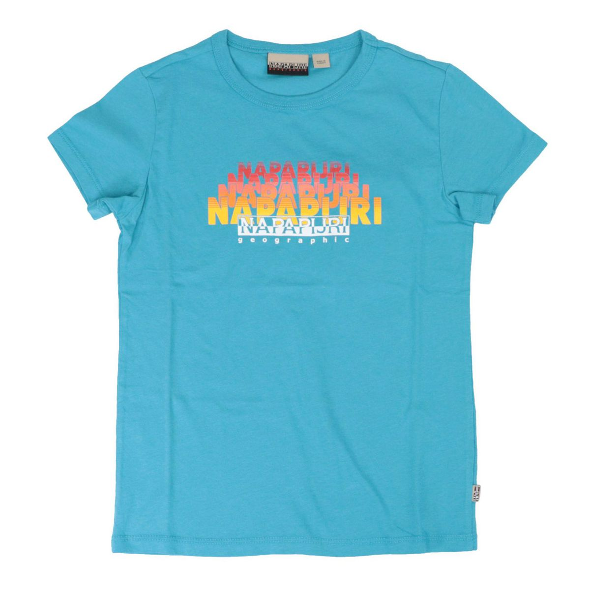 Short-sleeved cotton T-shirt with shaded logo Turquoise NAPAPIJRI