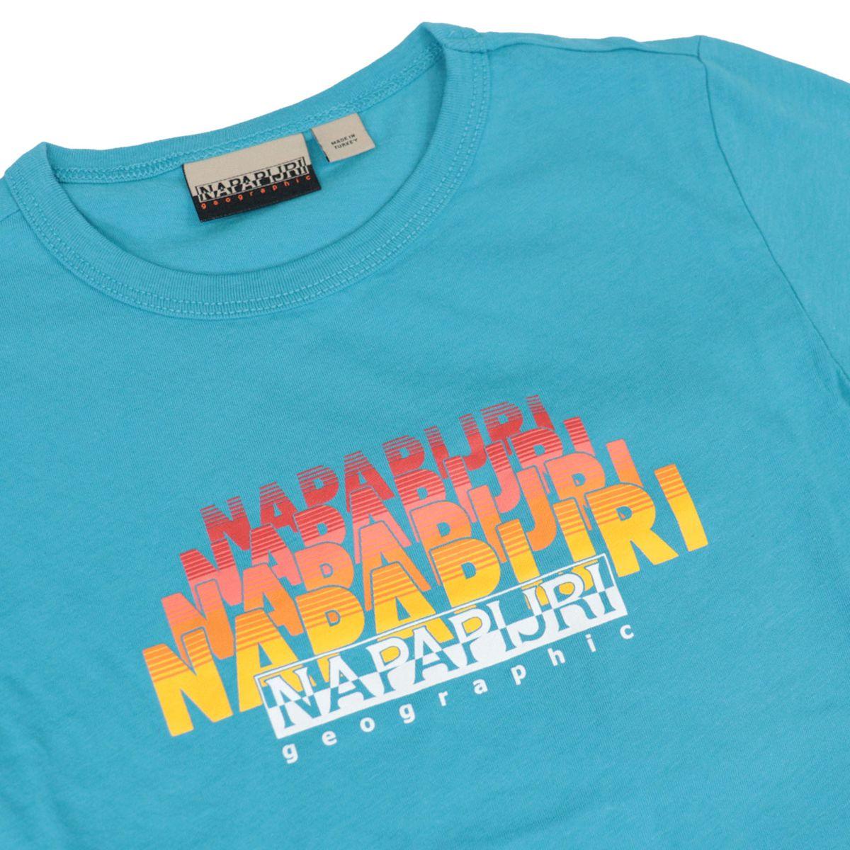 Short-sleeved cotton T-shirt with shaded logo Turquoise NAPAPIJRI