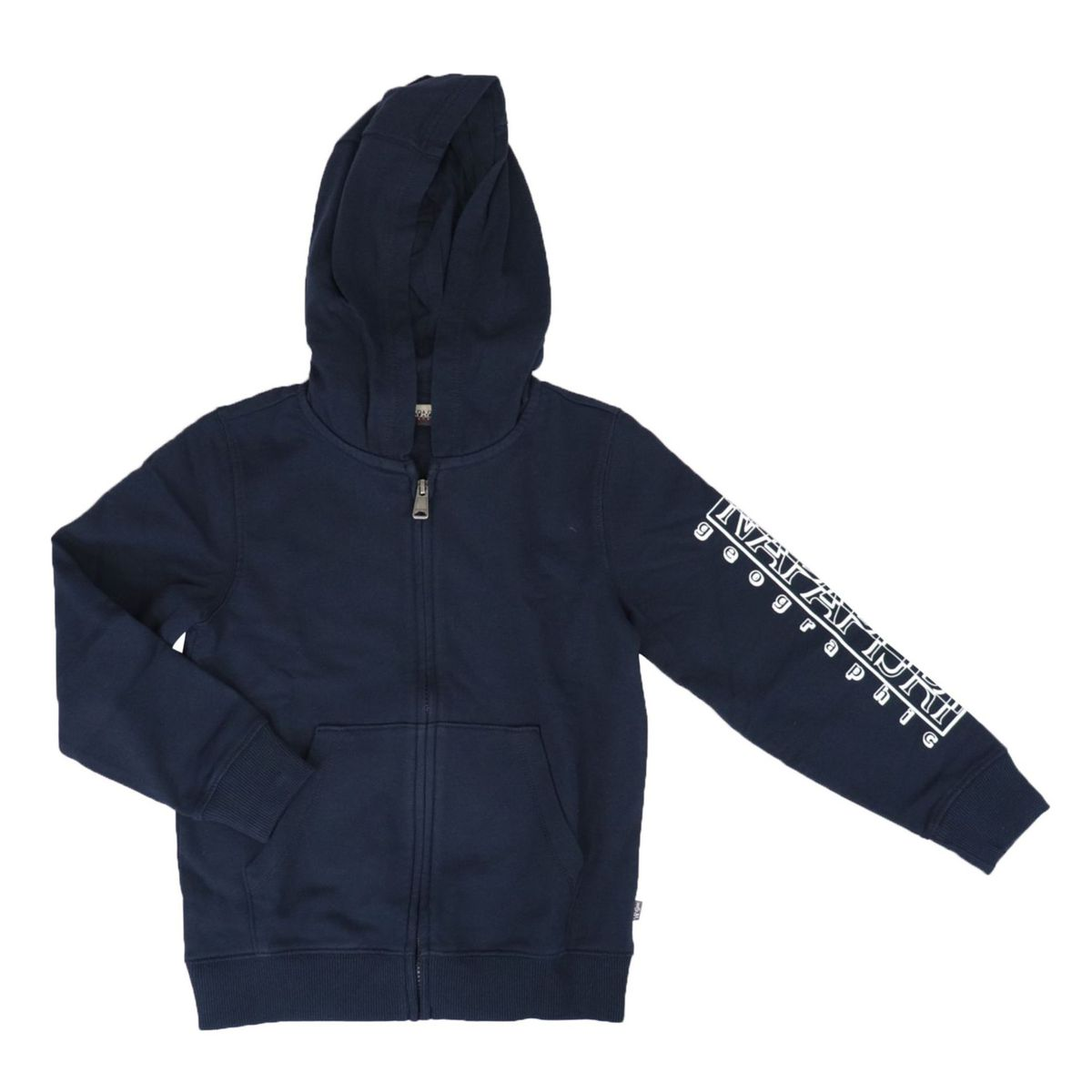 Full zip cotton sweatshirt with hood with logo print on the sleeve Blue NAPAPIJRI