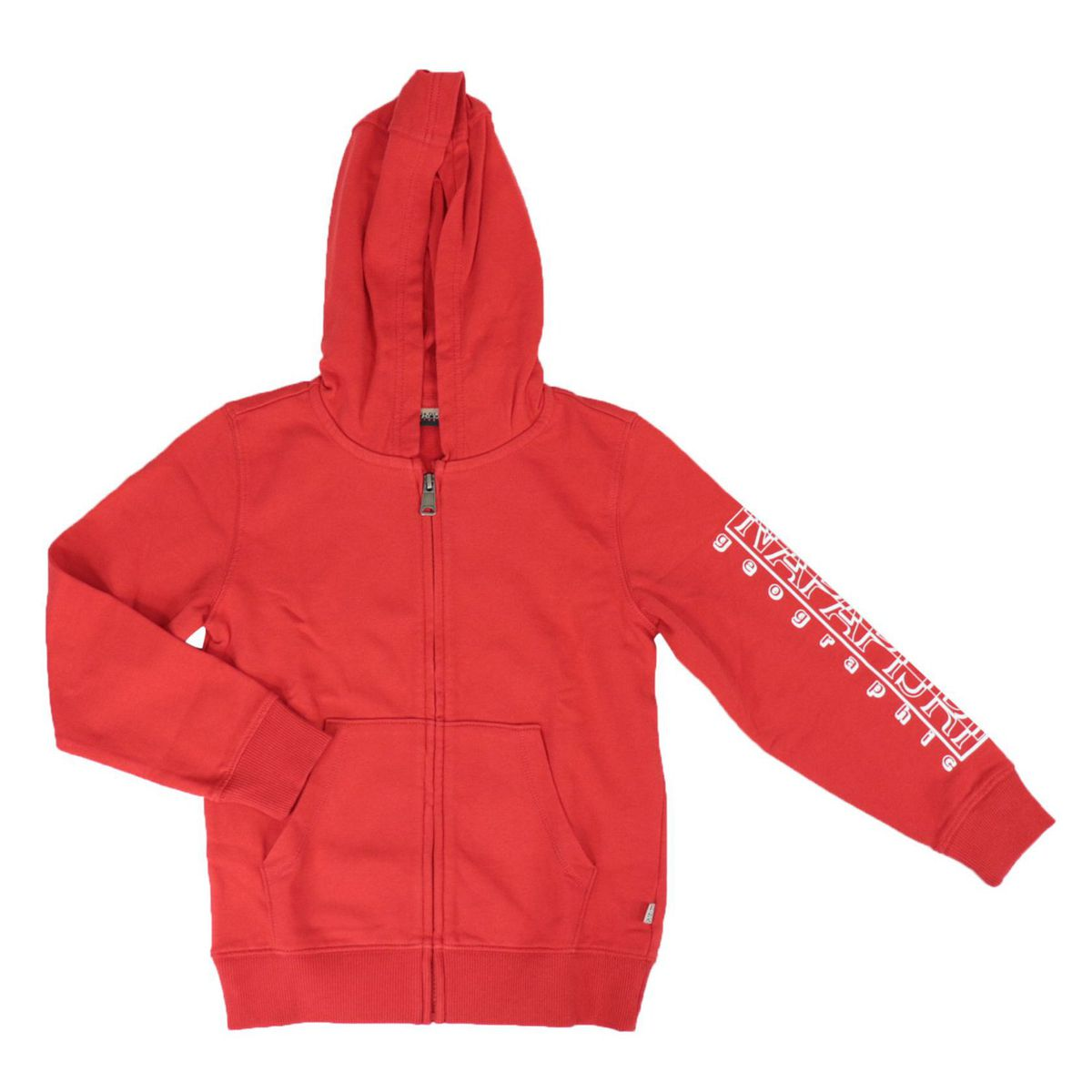 Full zip cotton sweatshirt with hood with logo print on the sleeve Red NAPAPIJRI