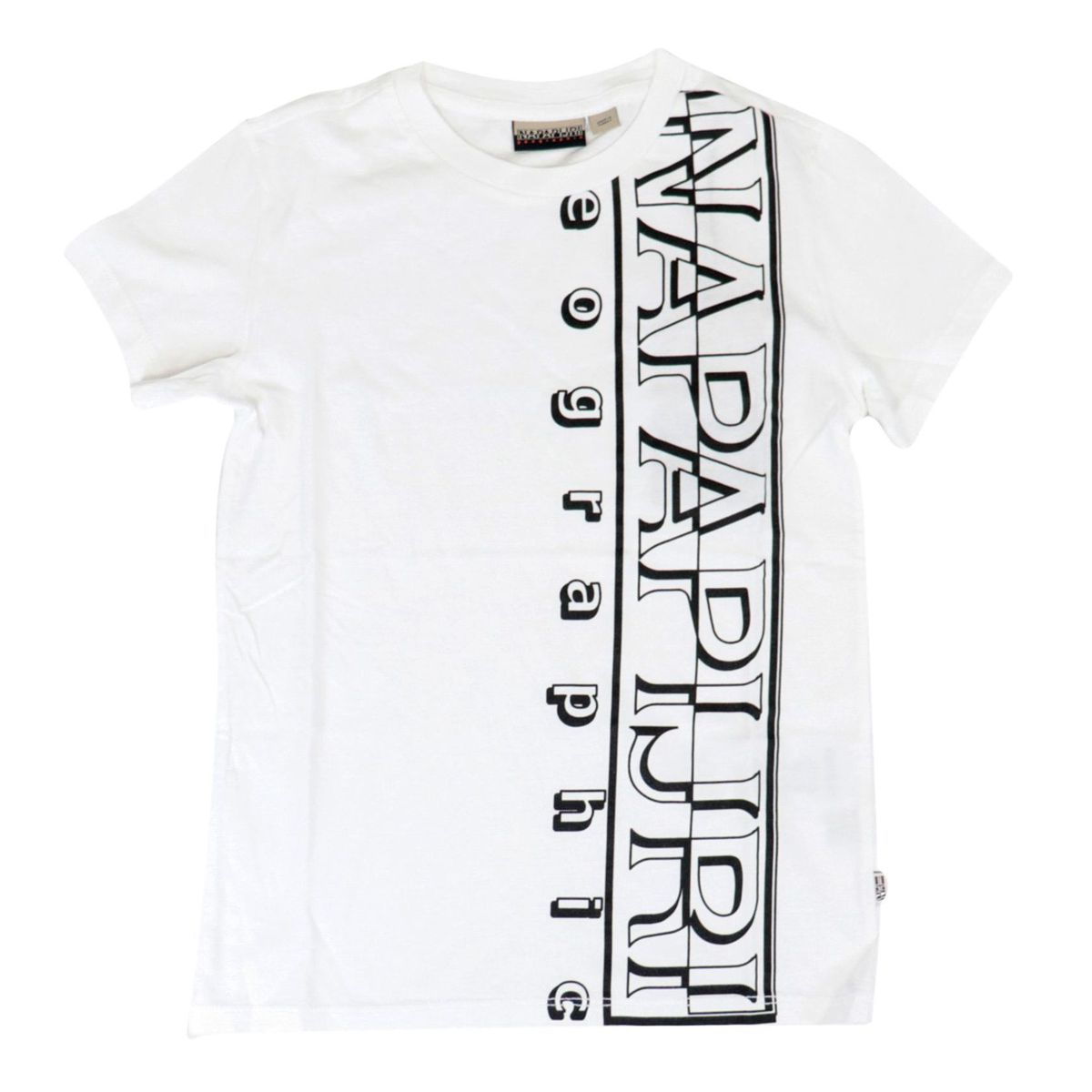 Short-sleeved cotton T-shirt with large vertical logo White NAPAPIJRI