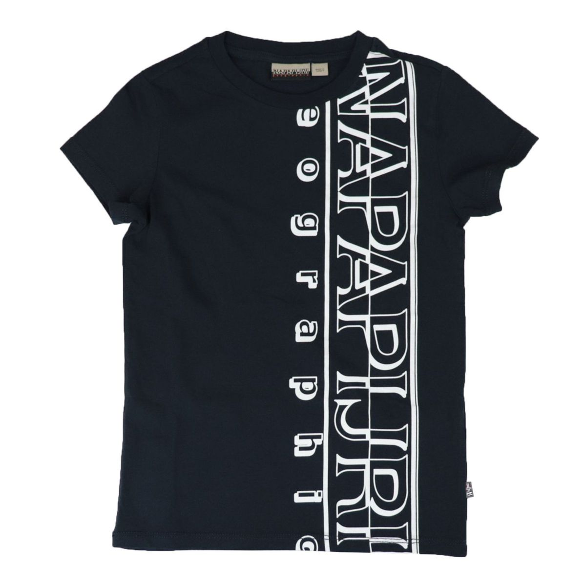 Short-sleeved cotton T-shirt with large vertical logo Blue NAPAPIJRI