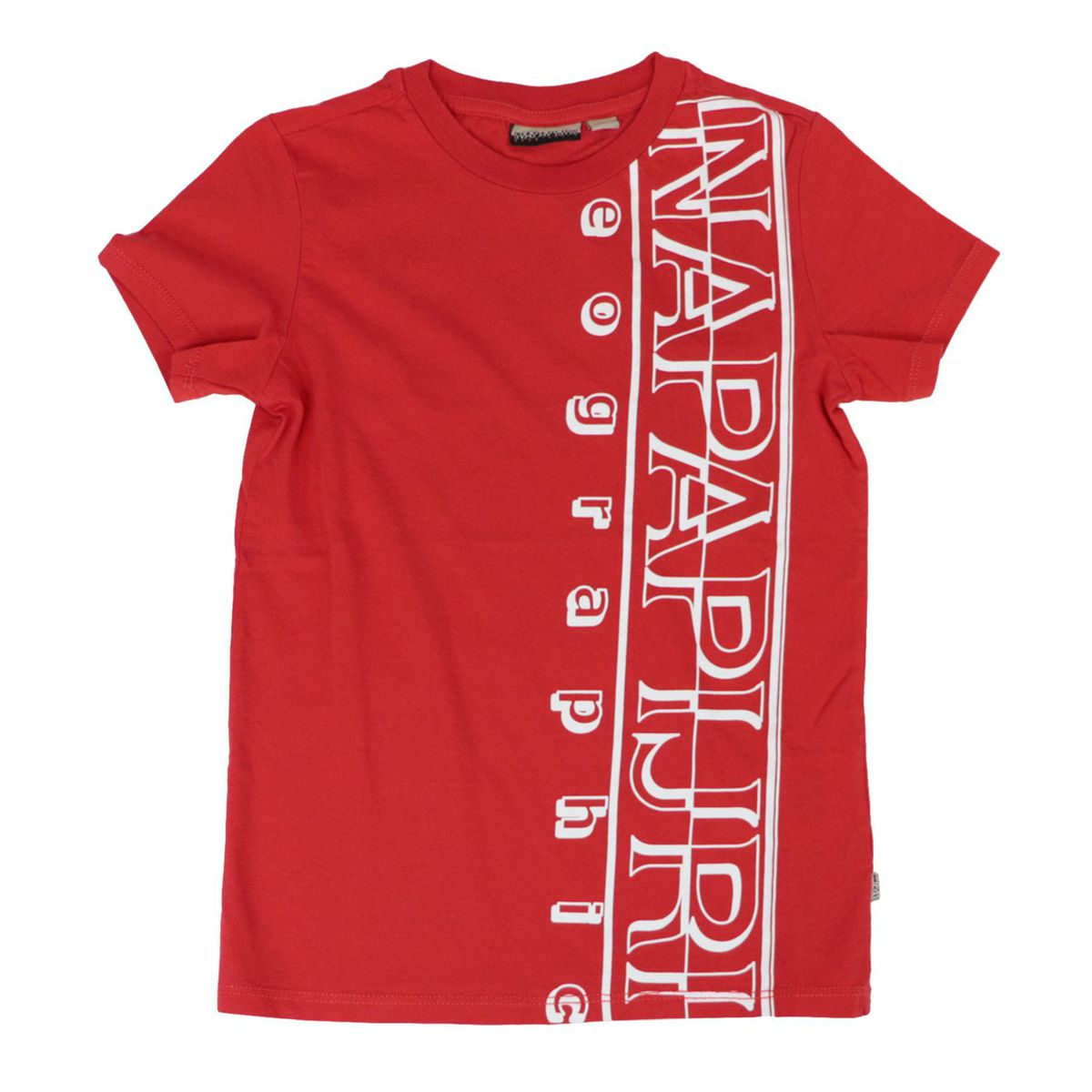 Short-sleeved cotton T-shirt with large vertical logo Red NAPAPIJRI