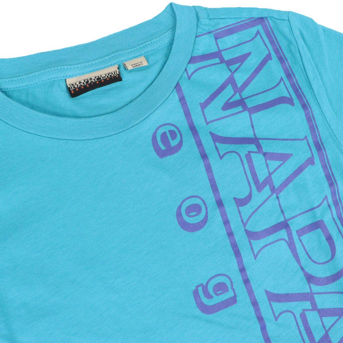 Short-sleeved cotton T-shirt with large vertical logo Turquoise NAPAPIJRI