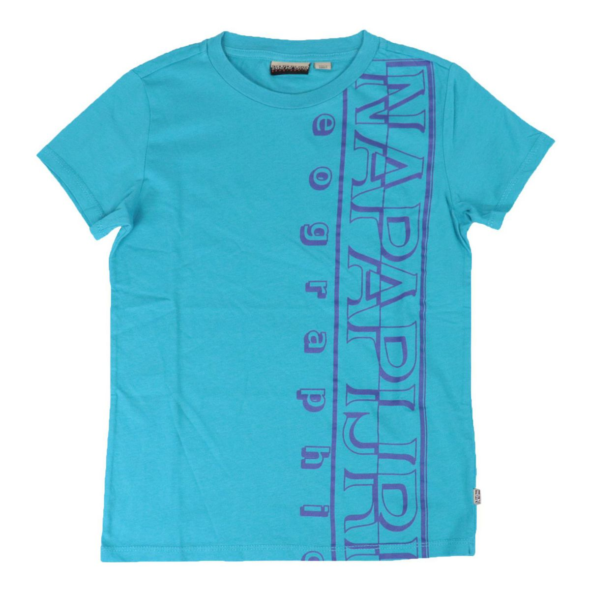 Short-sleeved cotton T-shirt with large vertical logo Turquoise NAPAPIJRI