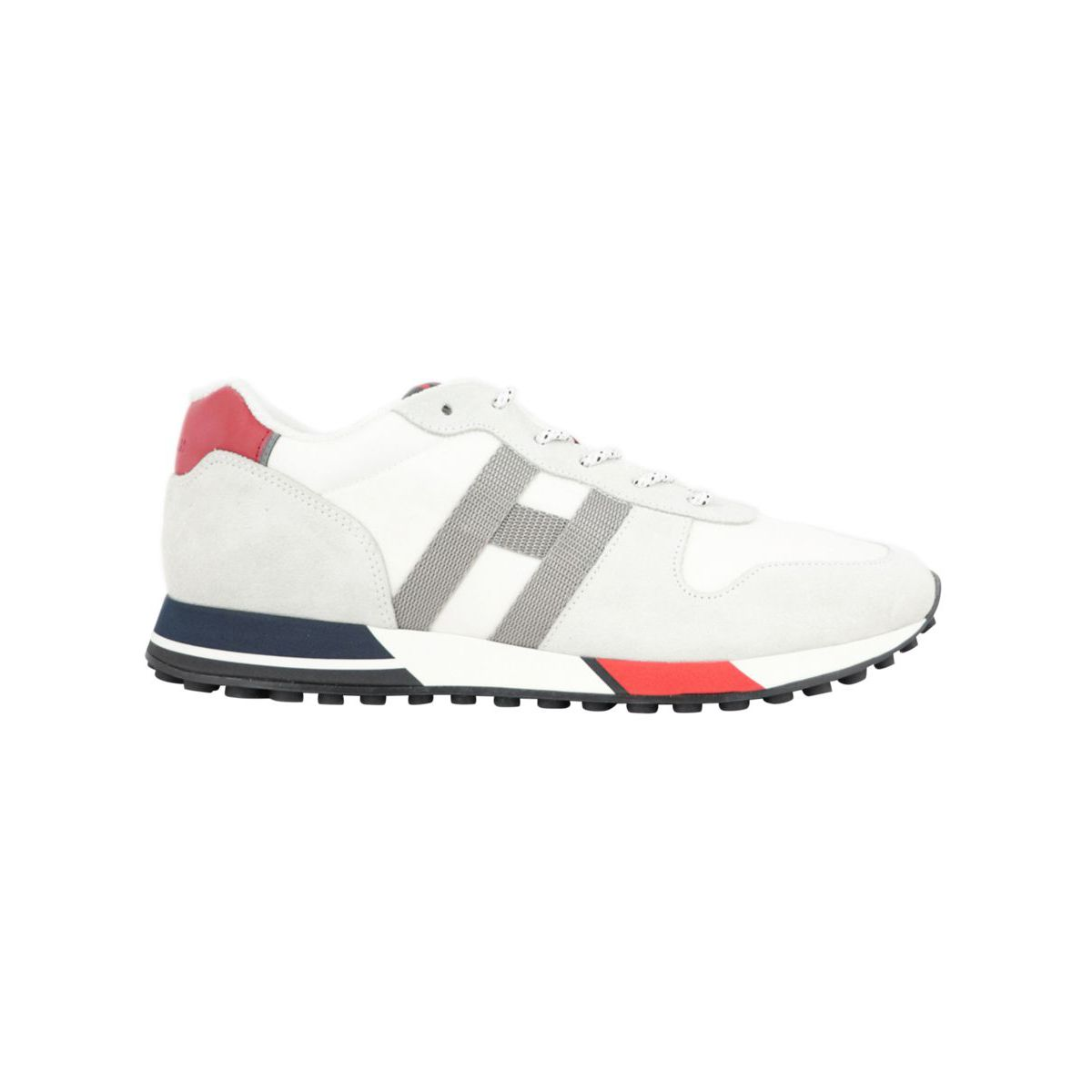 Suede and mesh sneakers with 383 bottom and contrasting H White Hogan