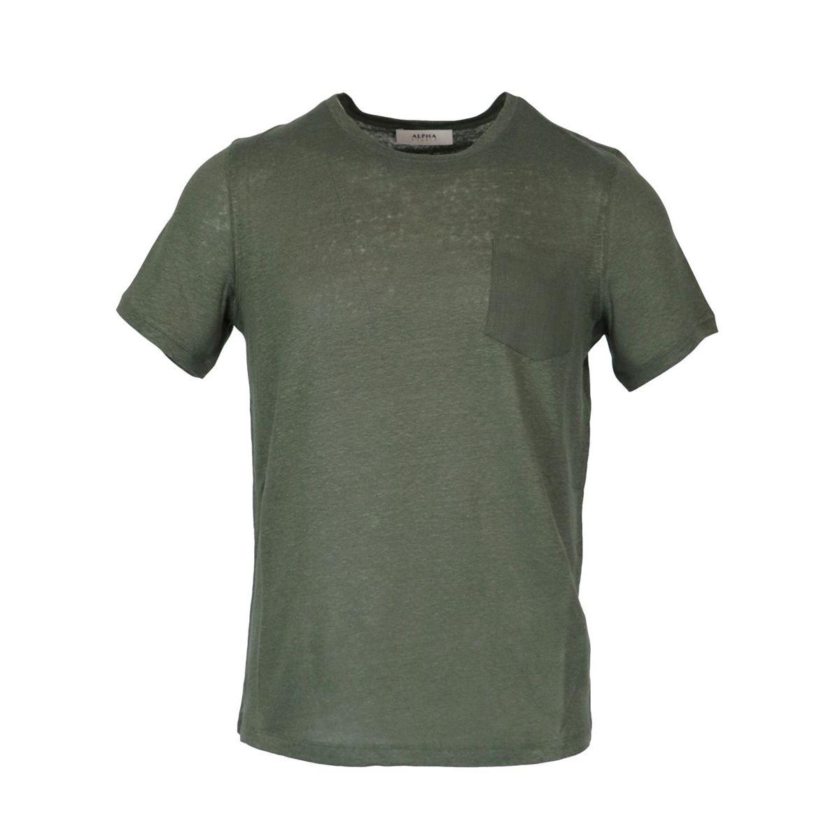 Crew neck linen T-shirt with pocket Military Alpha Studio