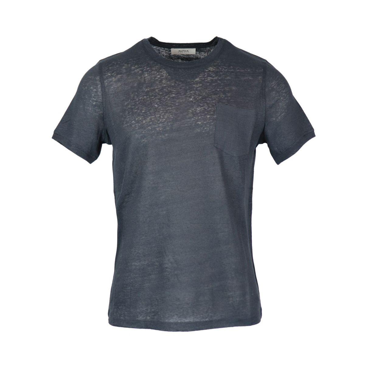 Crew neck linen T-shirt with pocket Night Alpha Studio
