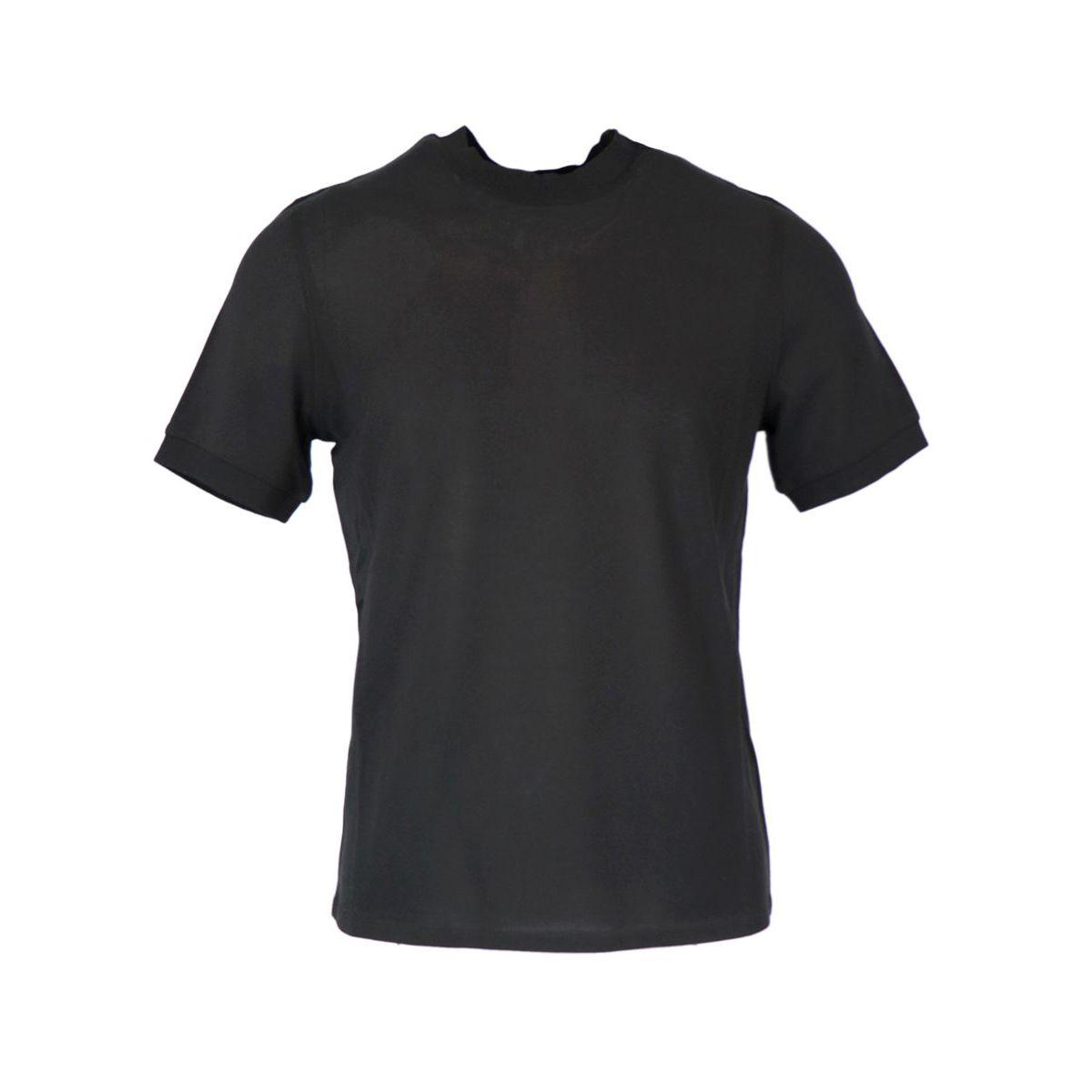 Crew neck t-shirt in silk and cotton Black Alpha Studio